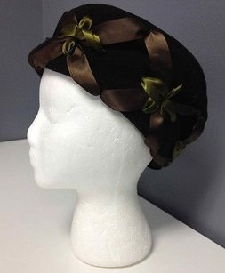 Strong Wear Brown Cotton Fleece Green Ribbon Accented Winter Hat Os B3019