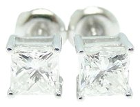 Other 34 Ct Princess Cut Solitaire Diamond Studs Earrings