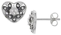 Other 10k White Gold Diamond Heart Love Stud Earrings 0.25 Cttw G-h I2-i3