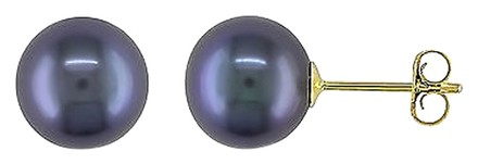 Other 14k Yellow Gold Black Cultured Freshwater Pearl Stud Earrings 8-8.5 Mm