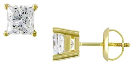 Other 14k Yellow Gold Diamond Square Geometric Stud Earrings 2 Cttw H-i Si2-i1