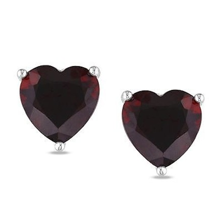 Other Sterling Silver Garnet Heart Love Stud Earrings 4 Ct Tgw