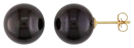 Other Amour 14k Yellow Gold 10.5-11mm Black Pearl Stud Earrings
