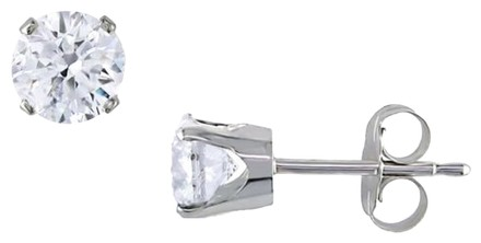 Other 14k White Gold Round Diamond Solitaire Stud Earrings 1 Cttw J-k I2-i3