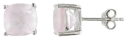 Other Sterling Silver 4-12ct Tgw 8mm Cushion Rose Quartz Solitaire Earrings