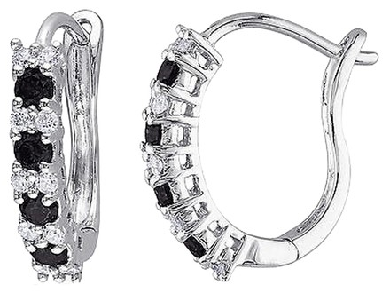 Other 10k White Gold 12 Ct Black And White Diamond Tw Cuff Earrings Gh I2-i3