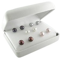 Other Sterling Silver 6-7 Mm Freshwater Cultured Pearl Earrings Set Of 5 Multi Color