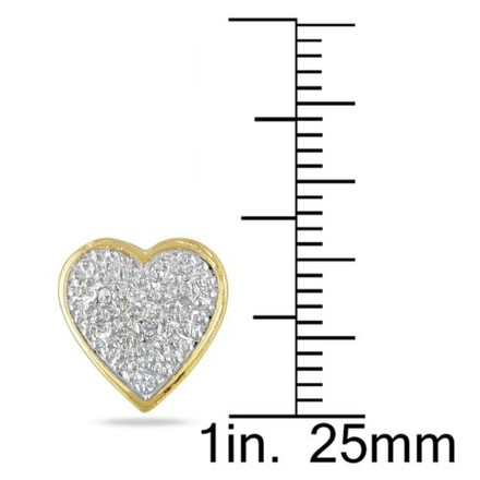 Other 14k Yellow Gold Accent Diamond Heart Love Stud Earrings 0.09 Cttw J-k I3