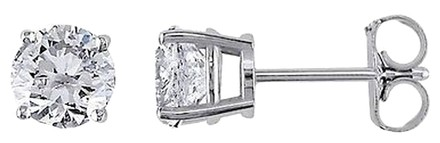 Other 14k White Gold Diamond Solitaire Stud Earrings 1.5 Cttw H-i I1-i2