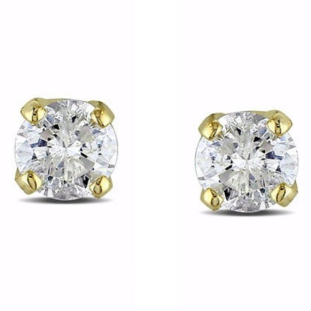 Other 14k Yellow Gold 110 Ct Tdw Diamond Small Screw Back Stud Earrings