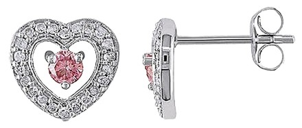 Other 14k White Gold 13 Ct Pink And White Diamond Heart Love Stud Earrings Gh I1i2