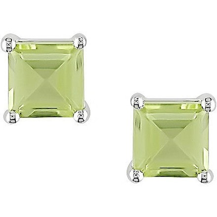 Other 14k White Gold Square Green Peridot Gemstone Stud Earrings 58 Ct Cttw