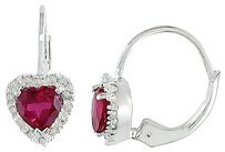 Sterling Silver 16 Ct Carat Diamond And 1 Ct Created Ruby Heart Love Earrings