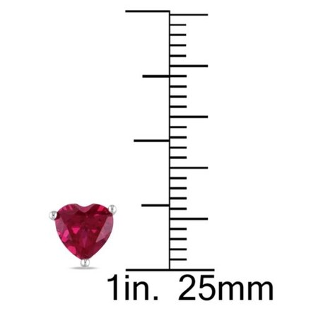Other Sterling Silver Ruby Heart Love Stud Earrings 2 Ct Tgw