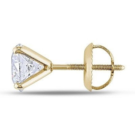 Other 14k Yellow Gold Diamond Square Geometric Stud Earrings 2 Cttw G-h I1-i2