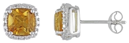 Other Amour Sterling Silver Citrine Gemstone Stud Earrings 1.6 Ct Tgw