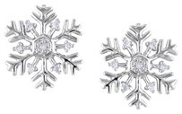 Other Sterling Silver Accent Diamond Snowflaked Stud Earrings 0.06 Cttw G-h I2-i3
