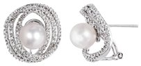 Other Sterling Silver 8-8.5 Mm Pearl Diamond Accent Stud Earrings 0.25 Cttw H-i I3