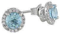 Sterling Silver Diamond And 1.06 Ct Sky Blue Topaz Ear Pin Earrings Gh I3