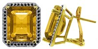 10.4 CT 14k Yellow Gold Black Diamond & Citrine Stud French Clips Earring