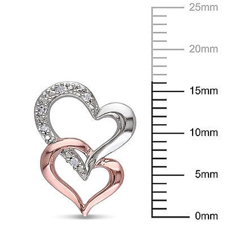 Other Sterling Silver 110 Ct Diamond Tw Two-tone Interlocking Hearts Ear Pin Earrings