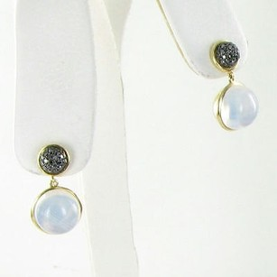 Other Syna Baubles Drop Earrings Moon Quartz Black Diamond 18k Yellow Gold
