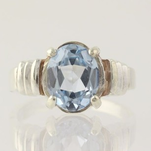 Synthetic Blue Spinel Ring - Sterling Silver Oval Solitaire 6.75 Carat