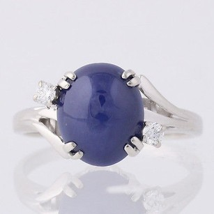 Other Synthetic Blue Star Sapphire Diamond Cocktail Ring- 14k White Gold Fine .09ctw