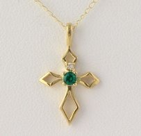 Synthetic Emerald Cubic Zirconia Pendant W Necklace - 10k Yellow Gold 18