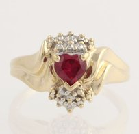 Synthetic Ruby Cocktail Ring- 10k Yellow White Gold Diamond Accent Fine .50ctw
