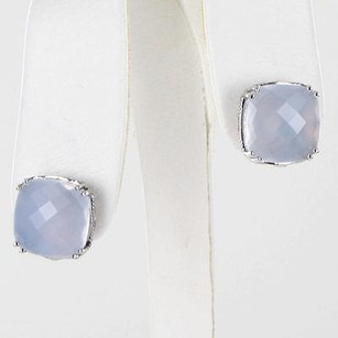 Tacori 18k925 Classic Rock Bold Cushion Cut Earrings Wht Chalcedony 925