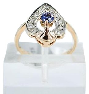 Other Tanzanite Ring 3.7 Gr 14k Rose Gold 0.27ct Genuine Diamonds