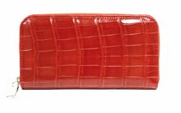 Tardini Red Glossy Alligator Rectangular Zip Around Clutch Wallet 210591at
