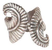 Taxco Womens Sterling Silver Feather Swirl Clamper Cuff Bracelet Bangle