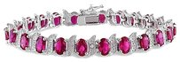Other Sterling Silver Ruby Diamond Accent Tennis Bracelet 18.03 Ct H-i I3 7