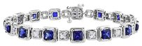 Sterling Silver Sapphire And White Sapphire Tennis Bracelet 7 7.5 Ct