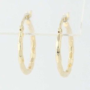 Other Textured Hoop Earrings - 14k Yellow Gold Snap Closures Pierced