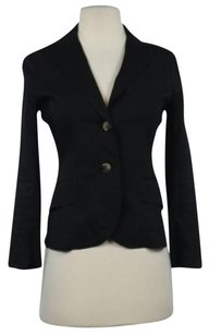 Theory Womens Black Solid Blazer 00 Cotton Long Sleeve Career Basic Jacket