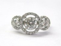 18kt 3-stone Circlet Diamond Engagement Ring Wg 1.18ct