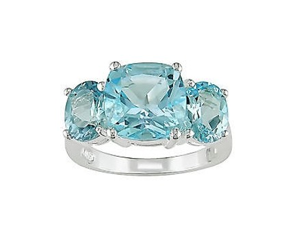 Other Sterling Silver 8 25 Ct Sky Blue Topaz Three Stone Fashion Ring