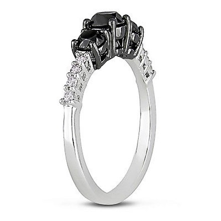 Other 10k White Gold 1 Ct Black And White Diamond Tw 3 Stone Ring Gh I2-i3
