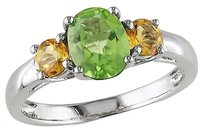 1 45 Ct Tgw Peridot Citrine 3-stone Fashion Ring In Sterling Silver