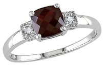 Other Sterling Silver Diamond And 1 13 Ct Tgw Garnet 3-stone Fashion Ring I3