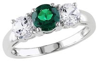 Other 10k White Gold 2 110 Ct Tgw White Sapphire Emerald 3 Stone Ring