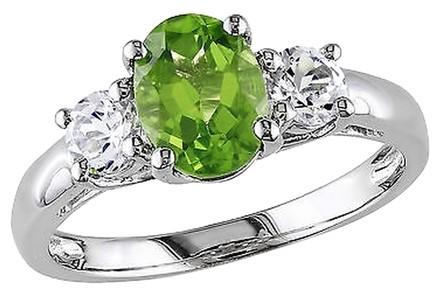Other 1 78 Ct Tgw Peridot White Sapphire 3-stone Fashion Ring In Sterling Silver