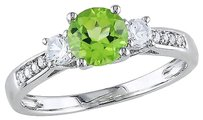 Other 10k White Gold Diamond And 1 Ctperidot Created White Sapphire 3 Stone Ring