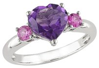 Sterling Silver 2 Ct Tgw Amethyst-africa Created Pink Sapphire Heart Love Ring