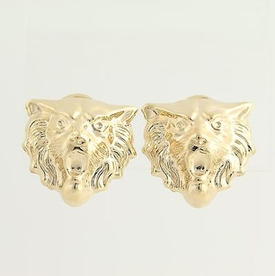 Tiger Head Earrings - 14k Yellow Gold Non-pierced Clip-ons