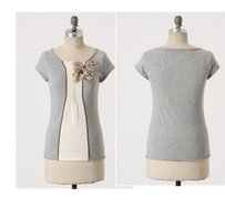 Other Field Flower Wendi Reed By Anthropologie Seasons Way Tee Cluster Top Gray beige