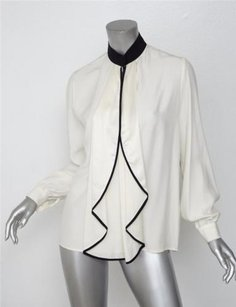 Other Unconditional Creamblack Silk Ruffle Shirt Top Ivory